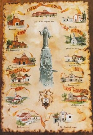 Dibujo de los conventos fundados por la Santa.