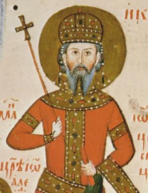 Miniatura del príncipe Iván Alejandro de Bulgaria, esposo de la Santa. Miniatura en los Tetraevangelia de Iván Alejandro.
