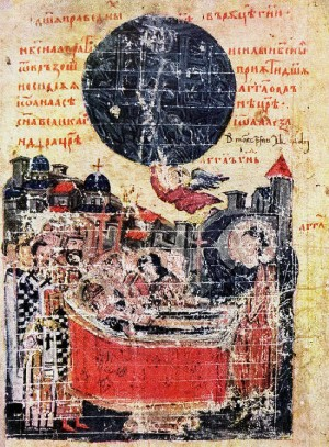 Muerte de Iván Asen. Miniatura de la Crónica de Manasse. La Santa aparece inclinándose sobre su hijo agonizante.