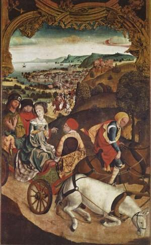Los Santos huyen en carro de la persecución. Altar de Krainburger (1510).  Iglesia parroquial de Kranj, Eslovenia.
