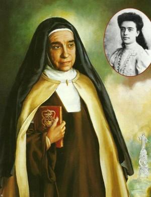 Lienzo-retrato de la Santa. En blanco y negro, fotografía de su juventud.