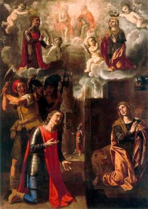 Martirio y glorificación de los Santos Gliceria y Laodicio. Lienzo de Jerónimo Jacinto de Espinosa. Museo del Real Colegio del Corpus Christi, Valencia (España).