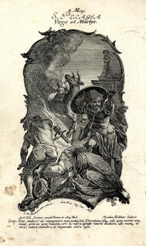 El heredero de Diocleciano suicidándose por amor. Al fondo, martirio de la Santa. Grabado de Christian Halbaur.
