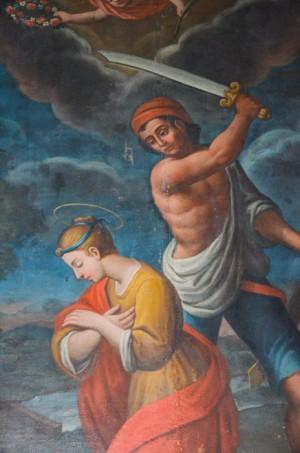 Detalle del martirio de la Santa. Iglesia de Santa Restituta, Narni (Italia).