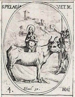 Martirio de la Santa. Grabado de Jacques Callot.