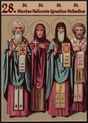 Sinaxis de los Santos celebrados el 28 de mayo: Nicetas, Helicónide, Ignacio y Eladio. Ilustración para el Prólogo de Ochrid.