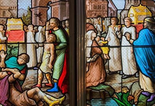 Llegada de las reliquias a Arcy y primeros milagros: liberación de posesos y el niño que empezó a hablar. Capilla de la Santa en Dargies, Francia.