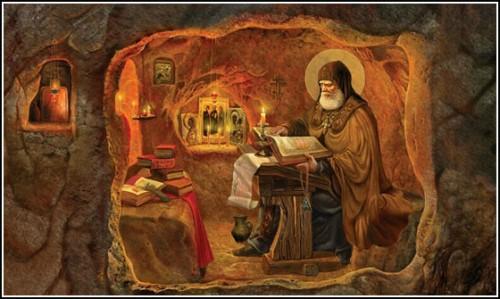 San Néstor el Cronista trabajando en su scriptorium. Ilustración de Natalia Klimova.