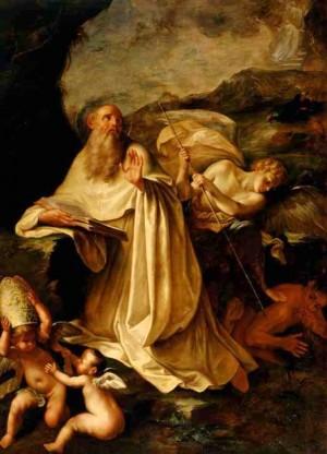 Visión de San Romualdo, lienzo de Filippo Pasquali (s. XVII). Pinacoteca Cívica de Forlì, Italia.