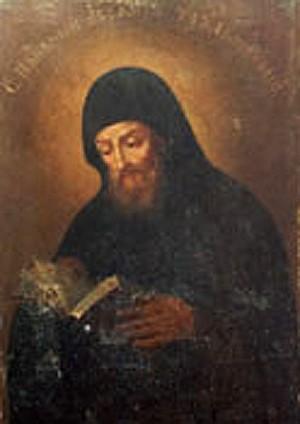 """Icono de San Abrahán """"el amante de las fatigas""""."""