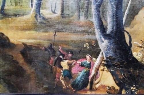 La Santa se resiste a la detención por los soldados de su padre, quienes le arrancan el brazo. Tabla de la leyenda de la Santa.