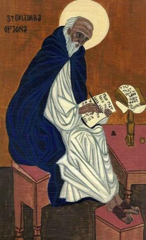 Icono del Santo copiando un manuscrito.