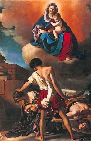 Martirio de los santos, obra de Il Guercino, 1632.