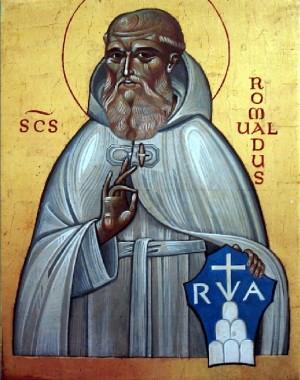 Icono del Santo con el escudo de su fundación.