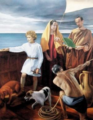 Los Santos huyen en barco a Lucania. Lienzo de Gregory Burney. Iglesia de San Vito, Mazara del Vallo, Italia.