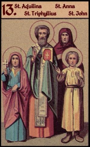 Sinaxis de los Santos celebrados el 13 de junio: Aquilina de Byblos, Trifilio, Ana y Juan de Larissa.