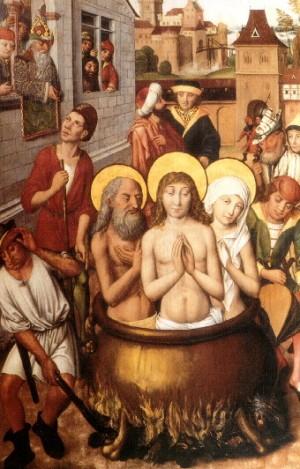 Martirio de los Santos. Tabla medieval, escuela nórdica.