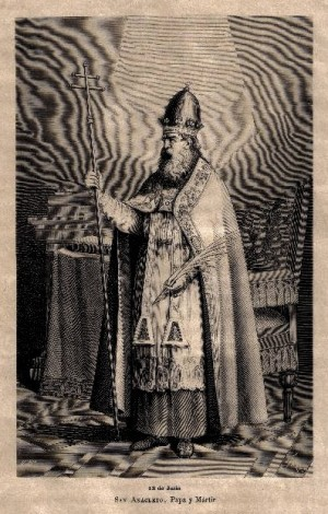 Grabado español de San Anacleto, Papa.