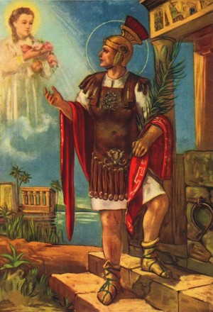 Estampa devocional italiana de San Basílides, contemplando una visión de Santa Potamiena.