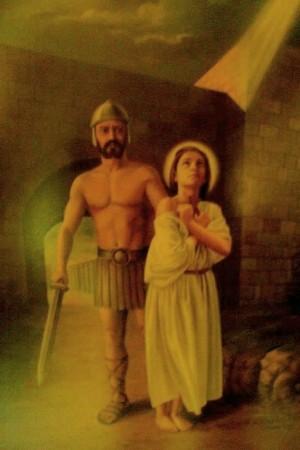 La Santa conducida al martirio. Lienzo contemporáneo en su sepulcro.