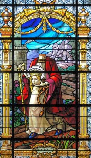 Vidriera de la Santa en Bignan, Francia.