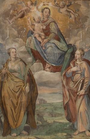 Virgen con Niño y las Santas Severa (izqda.) y Lucía (?) (dcha). Castello Santa Severa, Italia.