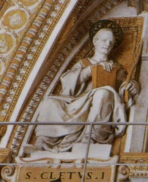 Detalle del papa San Cleto. Basílica de San Pedro del Vaticano, Roma (Italia).