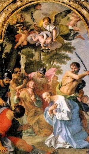 Martirio de los Santos. Óleo de G. Lapis, Roma.