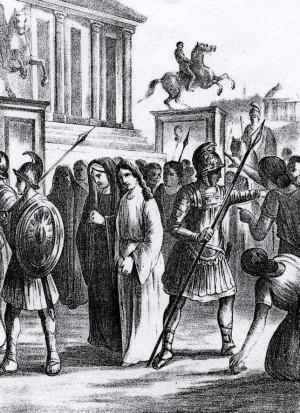Basílides protege a Potamiena y Marcela de los ataques de la multitud. Ilustración contemporánea.