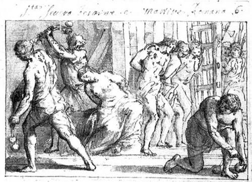 Martirio de Santa Severa y sus hermanos. Grabado de Marco Benefial.