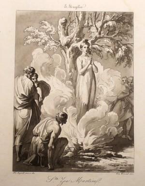 Martirio de la Santa. Grabado de Filipo Biglioli.