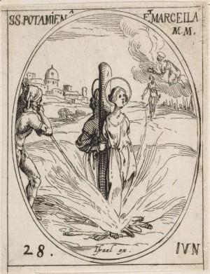 Martirio de las Santas. Grabado de Jacques Callot, Harvard University Library.