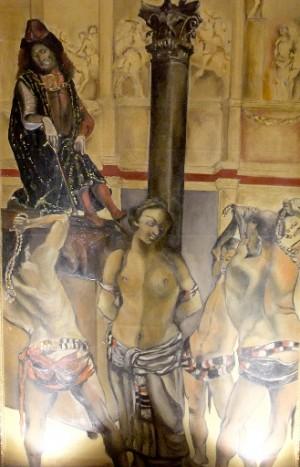 Martirio de la Santa en un museo de torturas en Italia.