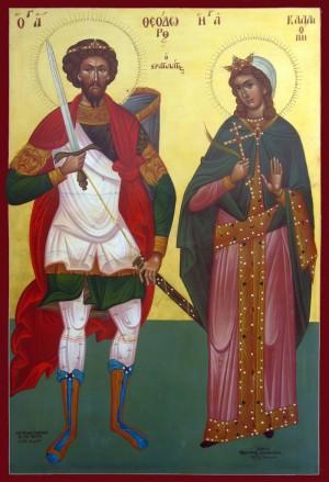 Icono ortodoxo griego de los Santos Teodoro Stratelatos y Calíope, obra del iconógrago Michael Hadjimichael.