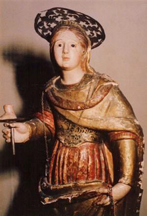 Imagen de la Santa venerada en Santa GIusta, Oristano (Cerdeña).