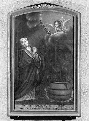 Tabla de Santa Potamiena con el caldero como atributo. Iglesia de San Benigno de Pontarlier, Francia.