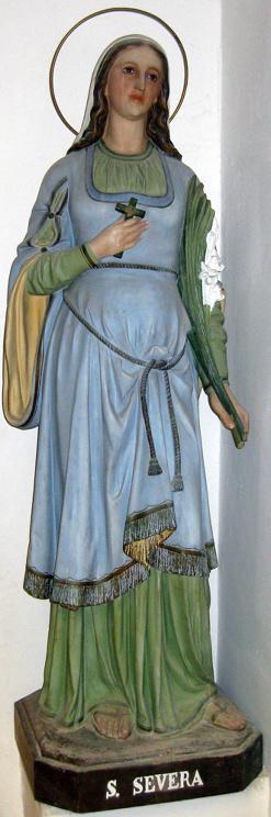 Imagen de la Santa de finales de los años 50. Iglesia de Santa Maria Assunta, Santa Severa (Italia).