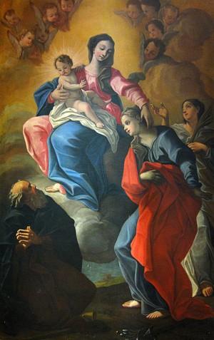 La Virgen con los Santos Severa, Antonio Abad y Lucía (?). Anónimo del s.XVII, iglesia de Santa Maria Assunta. Santa Severa, Italia.