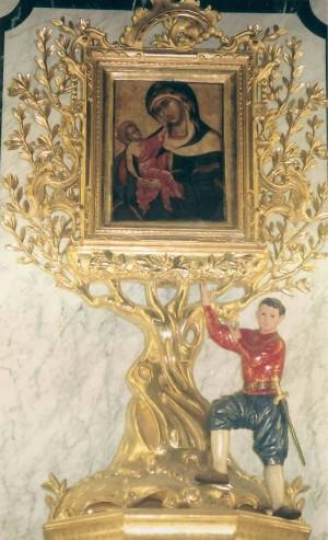 Vista del venerado icono en su ermita de Monteolivete, Valencia (España).