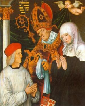 Gabriel von Eyb, obispo de Eichstätt, con San Willibaldo y Santa Walburga. Pintura de Lucas Cranach el Viejo.