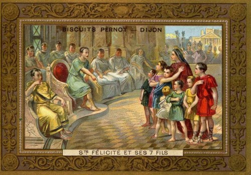 Los mártires ante el tribunal de Publio. Estampa devocional en una caja de galletas francesas.
