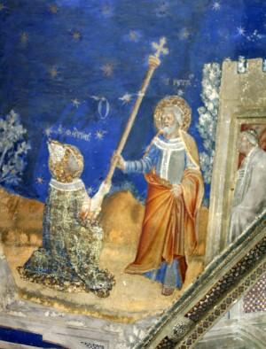 San Marcial recibe el bastón de San Pedro. Palacio de los Papas, Avignon (Francia)
