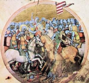 Batalla de Mogyoród. Miniatura que aparece en la Crónica Picta húngara.