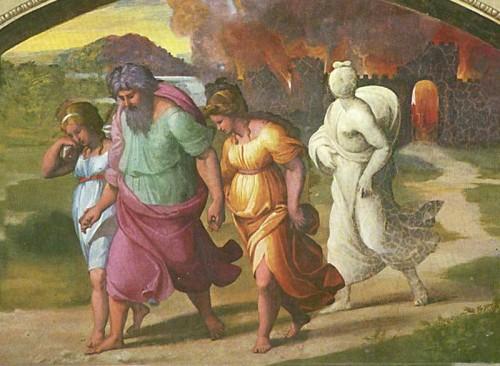 Fuga de Lot y su familia de Sodoma y Gomorra. Fresco de Rafael Sanzio. Logge di Raffaello (XVI), Vaticano.