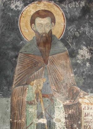 Fresco del santo en su monasterio.