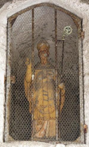 Estatua del Santo. Iglesia de San Marcial, Busserolles (Francia)