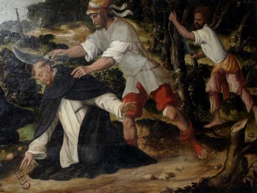 Martirio de San Pedro de Verona. Obra anónima del siglo XVI, Iglesia de San Eustorgio, Milán