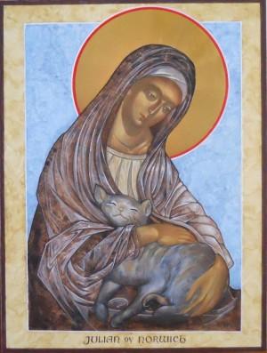 Icono de la Beata con su gato, que la acompañaba en la soledad de su celda de reclusa.