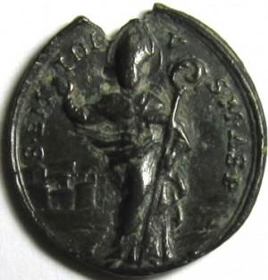 Moneda o medalla del siglo XV con la efigie del santo.