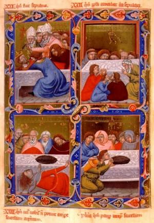 Escenas de la vida del santo. Legendario de Anjou el húngaro (1320/1340)